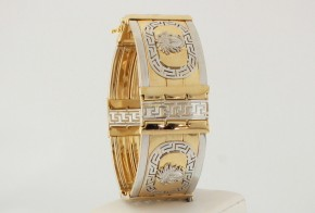 Златна гривна от бяло и жълто злато тип Версаче GR0158