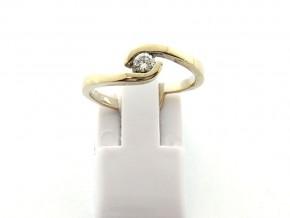 Годежен пръстен от  жълто злато с диамант D3069