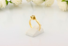 Годежен пръстен от жълто злато със сапфир D2060