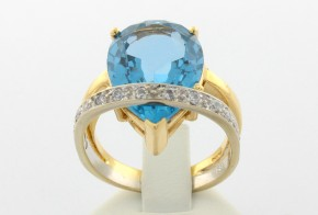 Дамски пръстен от бяло и жълто злато с циркони DD0028