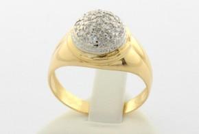 Дамски пръстен  от бяло и  жълто злато с циркони  DD0032