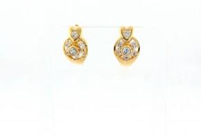 Златни обеци от жълто злато с циркони OB0111