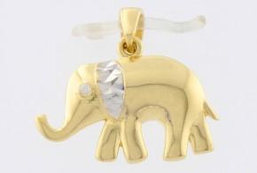 Златна висулка от бяло и жълто злато с циркон V0117