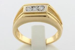 Мъжки пръстен от бяло и жълто злато MD0045