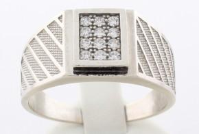 Мъжки пръстен от бяло злато MD0009