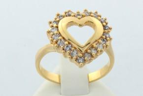Дамски пръстен от жълто злато с циркони във формата на сърце DD0007