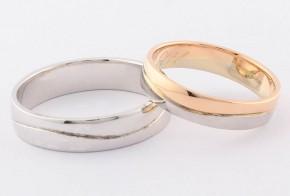 Брачни халки от бяло и розово злато BH0323