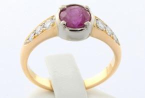 Дамски пръстен от бяло и жълто злато с диаманти  и рубин  D700
