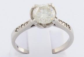 Годежен пръстен от бяло злато с диамант D2078