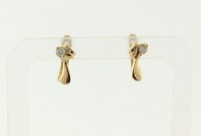 Детски златни обеци от жълто злато с циркони OBD0051