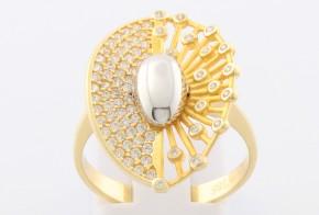Дамски пръстен от бяло и жълто злато с циркони DD0108