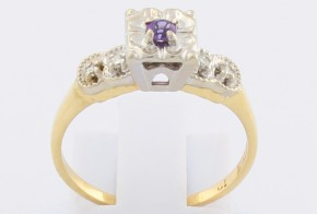 Дамски пръстен от бяло и жълто злато с аметист и диаманти D1173