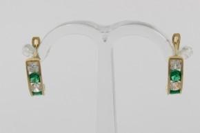 Дамски обеци от жълто злато с циркони - 1,30  грама
