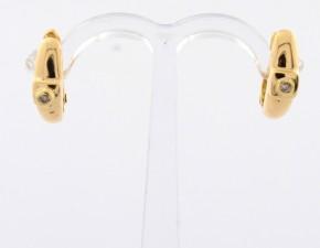 Обеци от жълто  злато с диаманти - 3,30  грама, диаманти - 2*0,022 carata
