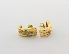 Обеци от жълто  злато с диаманти - 5,21  грама, диаманти - 48*0,010  carata