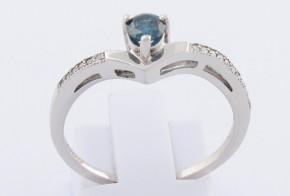 Годежен пръстен от бяло злато със син диамант D1109