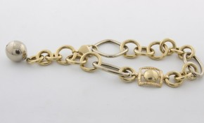 Златна гривна от бяло и жълто злато GR0011 - дължина 21 см., ширина 15 мм.
