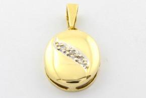 Висулка от бяло и жълто злато с диаманти VE348