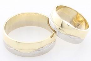 Брачни халки от бяло и жълто злато BH0143