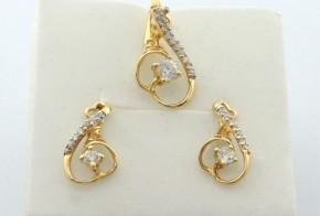 Дамски комплект от жълто злато с циркони  К0095