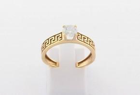 Годежен пръстен oт  жълто злато с циркон GD0171