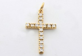Златен кръст от жълто злато с циркони VK0033