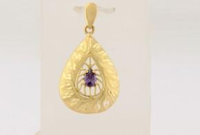 Златна висулка от  жълто  злато с циркон   V0205