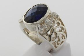 Мъжки сребърен пръстен с циркони SM0027
