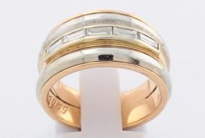 Дамски пръстен от розово и бяло злато с диаманти D1039