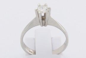 Годежен пръстен от бяло злато с диамант D2047