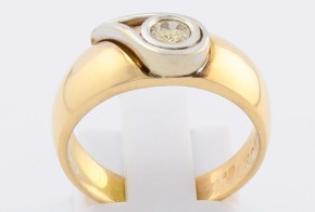 Дамски пръстен от бяло и жълто злато с диамант D866