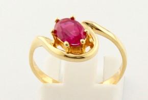 Дамски пръстен от жълто злато с циркони DD0084