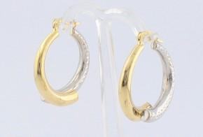 Златни обеци халки от бяло и жълто злато OB0138