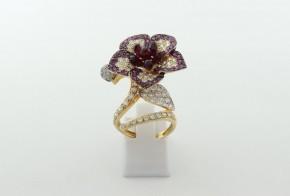 Дамски пръстен от жълто злато с циркон DD0205
