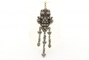 Старинна брошка от жълто злато  и сребро с диаманти B0009