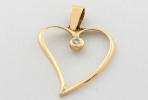 Висулка от жълто  злато с диамант  VE349