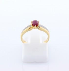 Годежен пръстен от бяло и  жълто злато с рубин D1139