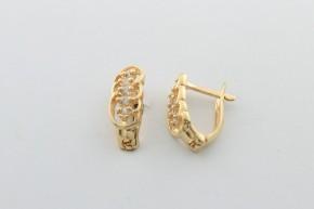 Дамски обеци от жълто злато  с циркони  - 1,91  грама, дължина на обеците 14  мм. ,ширина  5 мм.