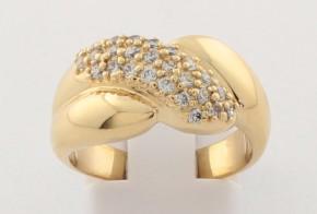 Дамски пръстен от жълто злато с циркони DD0170