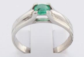 Годежен пръстен от бяло злато с изумруд D2030