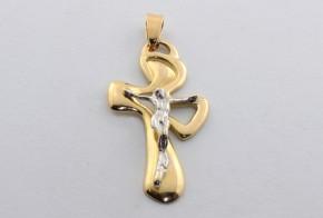 Златен кръст от  бяло и жълто злато VK0058
