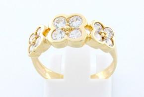 Дамски пръстен от жълто злато с циркони DD0063