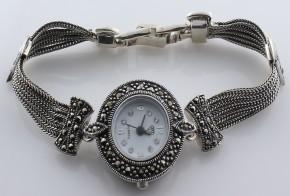 Дамски Сребърен часовник с марказити  CH0011