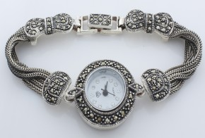Дамски Сребърен часовник с марказити  CH0010