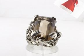 Мъжки сребърен пръстен с опушен кварц SM0023
