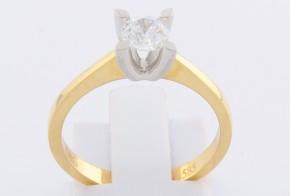 Годежен пръстен от бяло и жълто злато с циркон GD0141