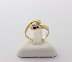 Годежен пръстен от жълто злато с циркон- 2,09 грама , размер 48