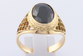 Мъжки пръстен от жълто злато с циркони MD0066