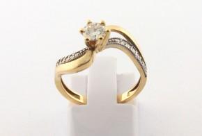 Годежен пръстен от жълто злато с диамант D2154