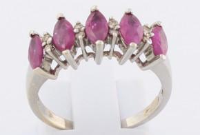 Дамски пръстен от бяло злато с рубини и диаманти D973